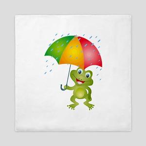 Frog Under Umbrella in the Rain Queen Duvet