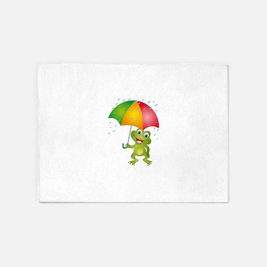 Frog Under Umbrella in the Rain 5'x7'Area Rug