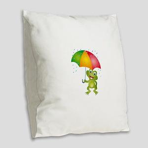 Frog Under Umbrella in the Rai Burlap Throw Pillow