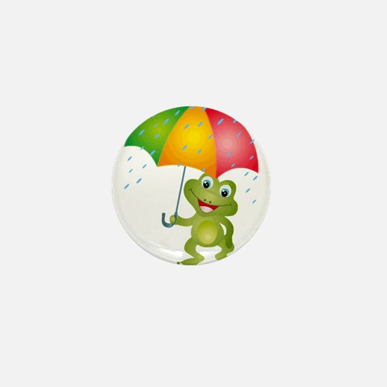 Frog Under Umbrella in the Rain Mini Button