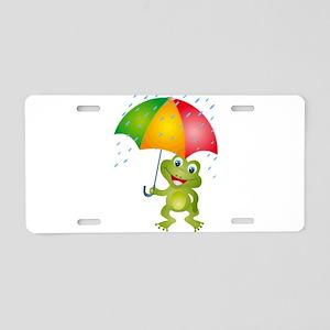 Frog Under Umbrella in the Aluminum License Plate