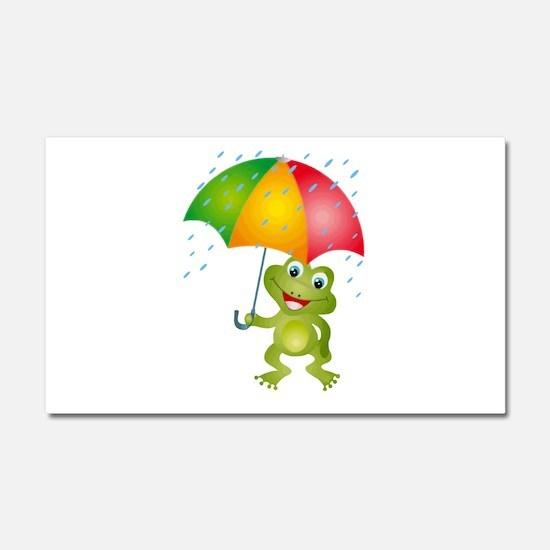 Frog Under Umbrella in the Rain Car Magnet 20 x 12