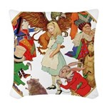 A round alice-white Woven Throw Pillow
