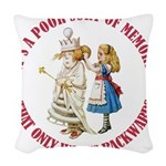 ALICE_POOR MEMORY_RED copy Woven Throw Pillow