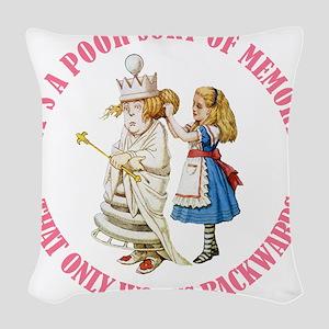 ALICE_POOR MEMORY_PINK copy Woven Throw Pillow