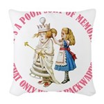 ALICE_POOR MEMORY_PINK copy Woven Throw Pillow