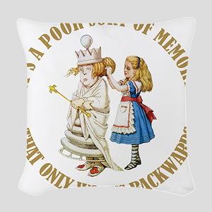 ALICE_POOR MEMORY_GOLD copy Woven Throw Pillow