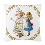 ALICE_POOR MEMORY_GOLD copy Woven Throw Pillow