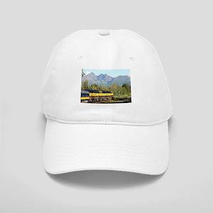 Alaska Railroad locomotive engine & mountains, Cap