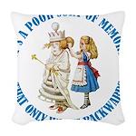 ALICE_POOR MEMORY_BLUE copy Woven Throw Pillow