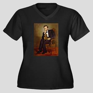 Lincoln's Dachshund Women's Plus Size V-Neck Dark