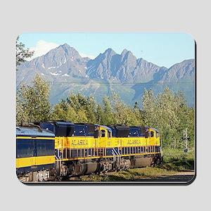 Alaska Railroad locomotive engine & moun Mousepad