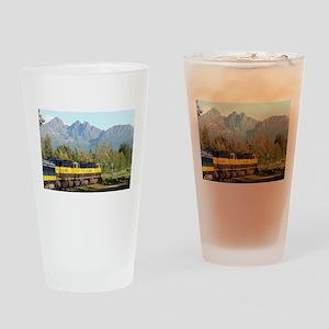 Alaska Railroad locomotive engine & Drinking Glass
