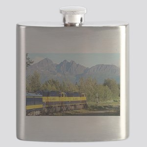 Alaska Railroad locomotive engine & mountain Flask