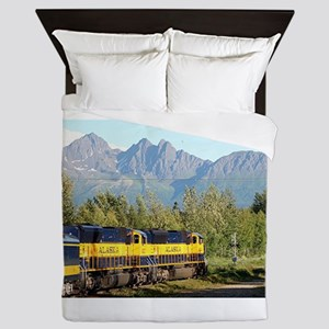 Alaska Railroad locomotive engine & mo Queen Duvet