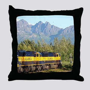 Alaska Railroad locomotive engine & m Throw Pillow