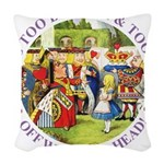 alice too thin_purple copy Woven Throw Pillow