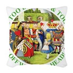 alice too thin_GREEN copy Woven Throw Pillow