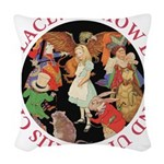 ALICE_CRAZY_RED copy Woven Throw Pillow