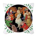 ALICE_CRAZY_GREEN copy Woven Throw Pillow