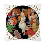 ALICE_CRAZY_GOLD copy Woven Throw Pillow