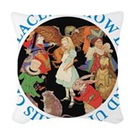 ALICE_CRAZY_BLUE copy Woven Throw Pillow