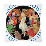 ALICE_CRAZY_BLUE copy Woven Throw Pillow