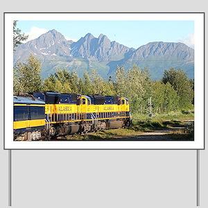 Alaska Railroad locomotive engine & moun Yard Sign