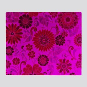 Bright Pink Retro Flowers Throw Blanket