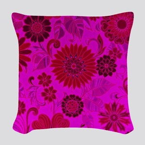 Bright Pink Retro Flowers Woven Throw Pillow