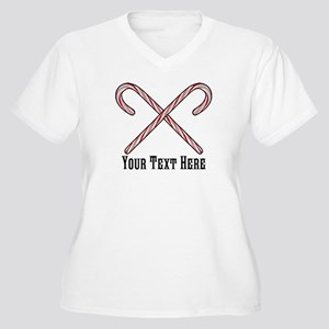 Candy Canes Perso Women's Plus Size V-Neck T-Shirt