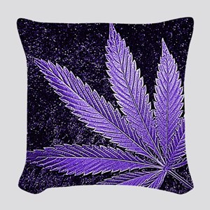 Purple Cannabis Leaf Woven Throw Pillow