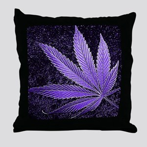 Purple Cannabis Leaf Throw Pillow