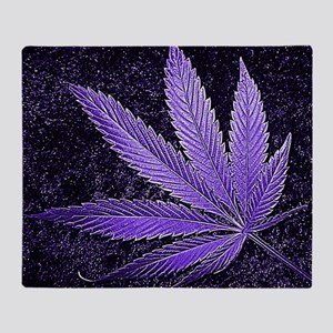 Purple Cannabis Leaf Throw Blanket