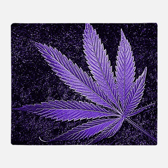 Purple Cannabis Leaf Throw Blanket