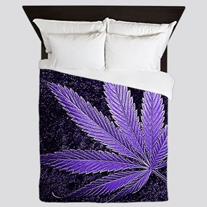 Purple Cannabis Leaf Queen Duvet