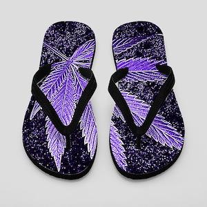 Purple Cannabis Leaf Flip Flops
