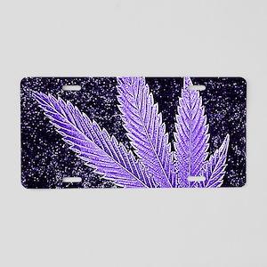 Purple Cannabis Leaf Aluminum License Plate