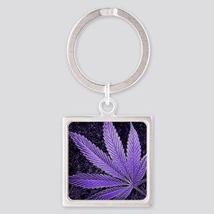 Purple Cannabis Leaf Square Keychain