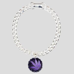 Purple Cannabis Leaf Charm Bracelet, One Charm