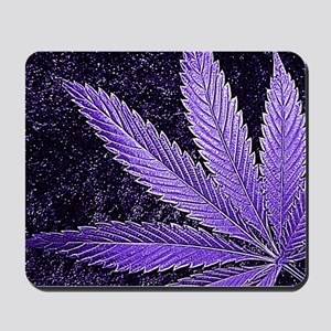 Purple Cannabis Leaf Mousepad