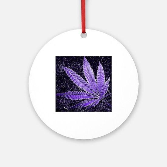 Purple Cannabis Leaf Ornament (Round)