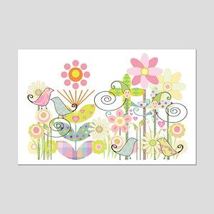 Baby Bird Garden Mini Poster Print
