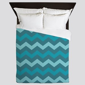 Teal Shades Chevron Pattern Queen Duvet