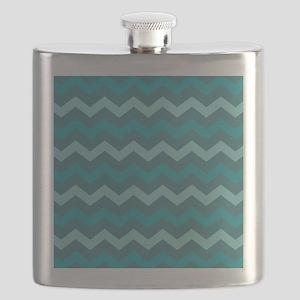 Teal Shades Chevron Pattern Flask