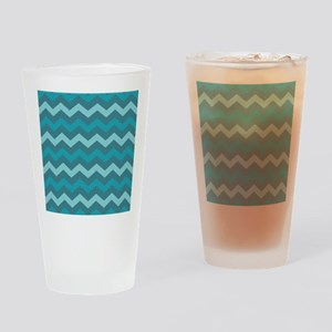 Teal Shades Chevron Pattern Drinking Glass