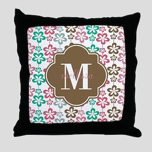 Colorful Retro Flowers Custom Monogra Throw Pillow