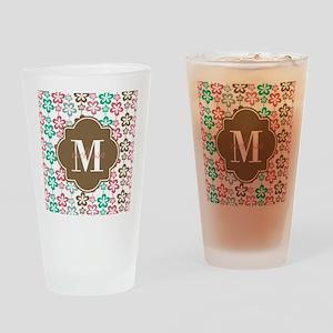 Colorful Retro Flowers Custom Monog Drinking Glass