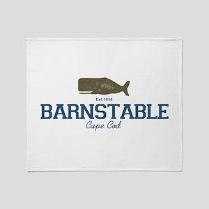 Barnstable - Cape Cod - Whale Desig Throw Blanket