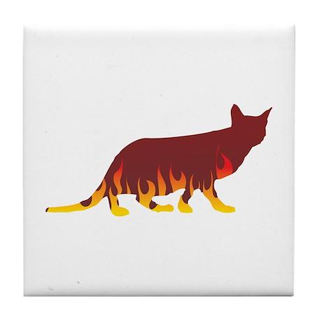 Ocicat Flames Tile Coaster